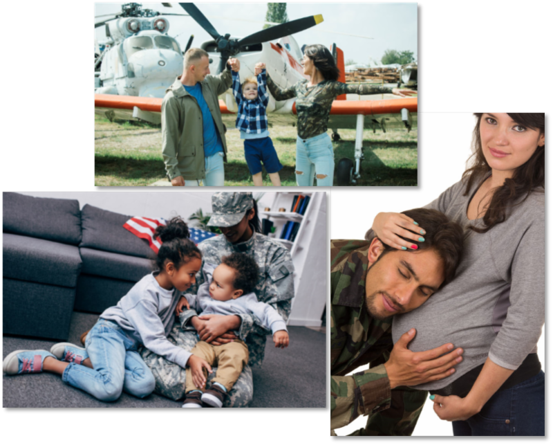 Compilation of 3 military families: one father, mother, child in front of an old airplane; one with mother in military uniform with two small children; one with pregnant woman and husband in fatigues with his head to her stomach, cradling the baby.