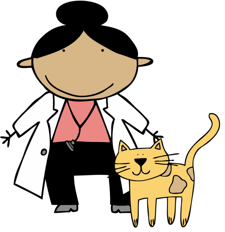 female doctor in lab coat with cat