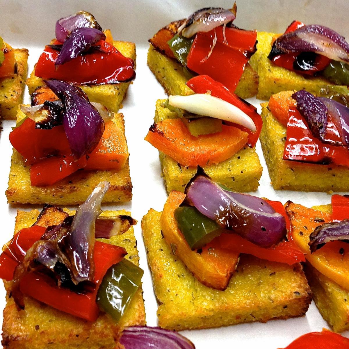 Roasted Vegetables on Baked Polenta