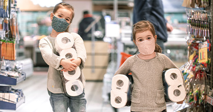 Two sisters collect toilet paper from store during coronavirus pandemic.