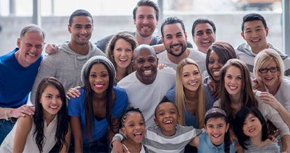 A group of diverse individuals come together for the 2020 Census.