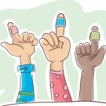 Ilustraci_n de los dedos vendados de tres ni_os.