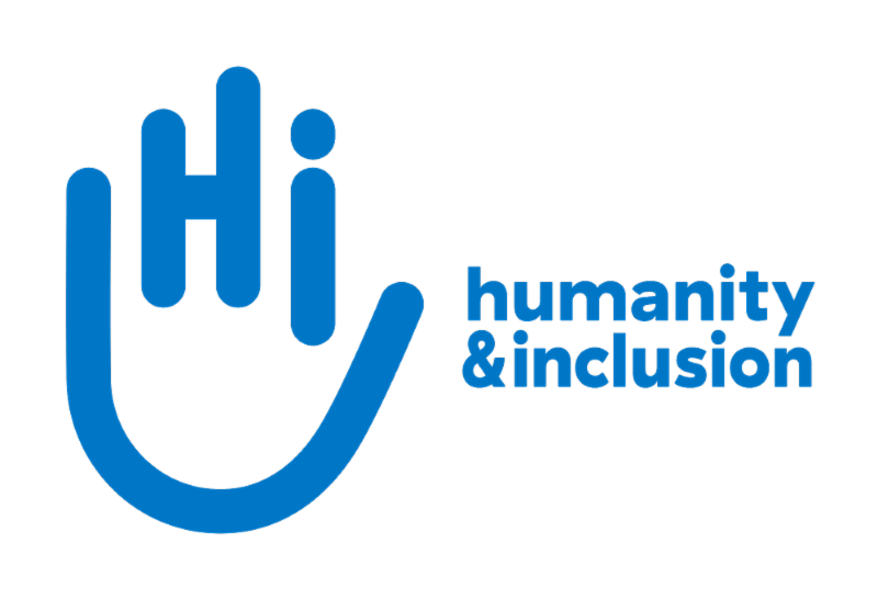 Logo in blue shows a long curve tracing the shape of a hand from its little finger to its thumb with the letters Hi inside resembling the three fingers in between followed by the name humanity and inclusion in all lower case letters