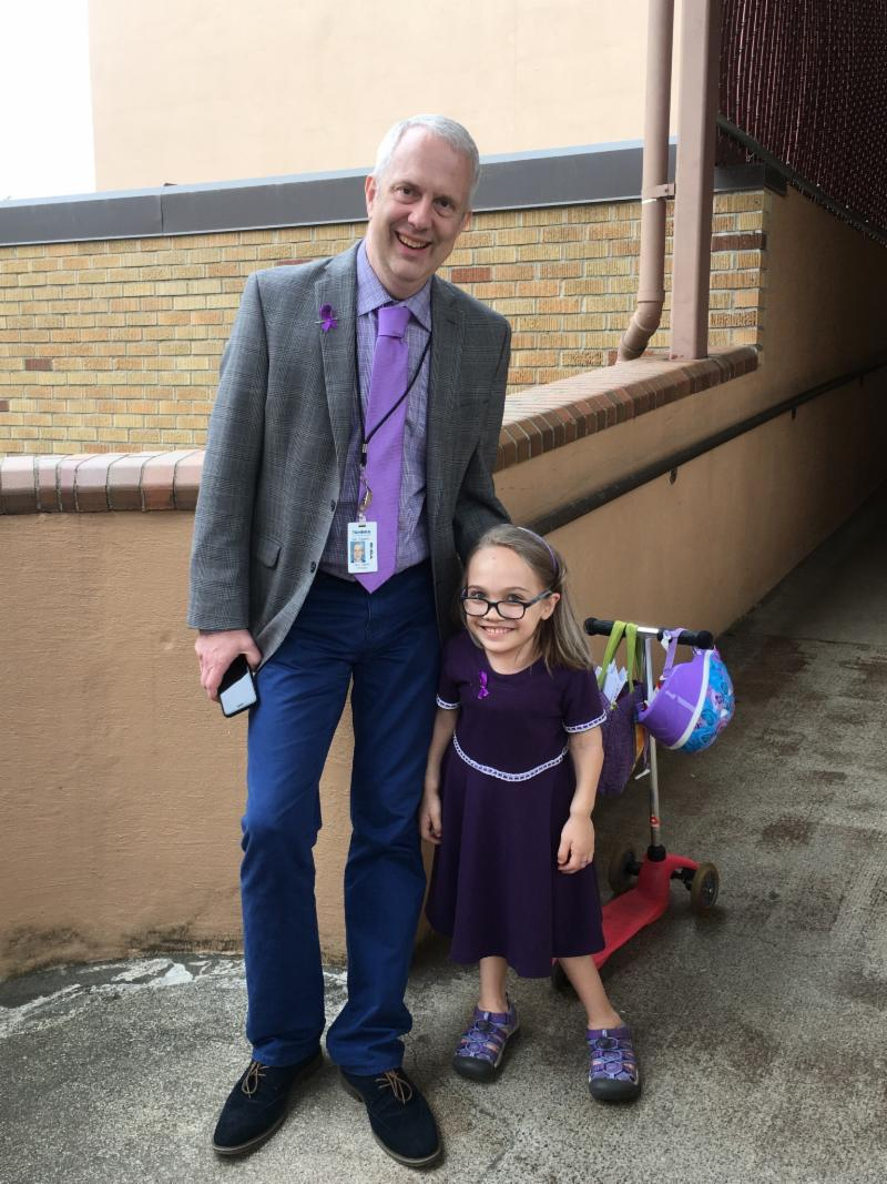 Principal Jerry Gaston with fifth-grader Rebecca.