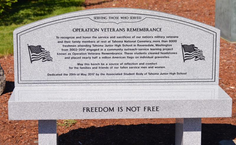 Close-up image of bench highlighting _Operation Veterans Remembrance_