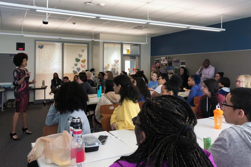 Erin Jones talks to THS students during an Activists for Change meeting