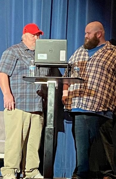 Comedians Mat Gingrich, left, and Cavin Eggleston performed during a virtual TES family appreciation night this week.