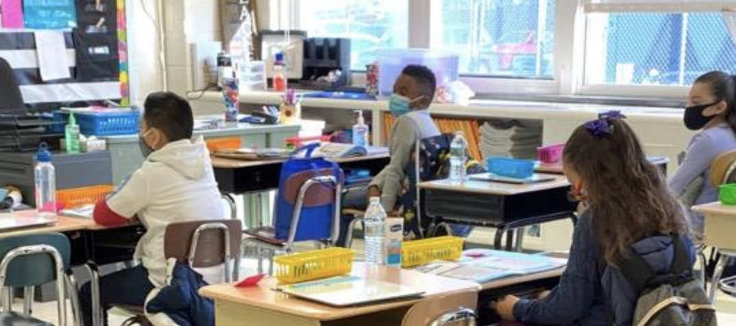Children in a hybrid learning classroom in the Christina School District