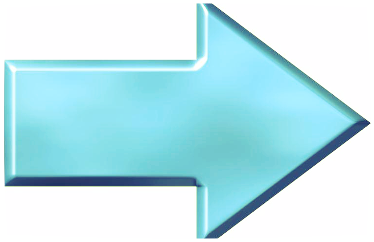 3D Azure Arrow that is isolated in white