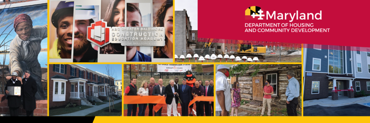 Various images from DHCD events on the cover the annual report