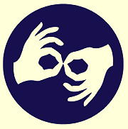 logo of two hands_ one with thumb up and the other thumb down_ making touching circles with thumbs and  index fingers - ASL for interpreting