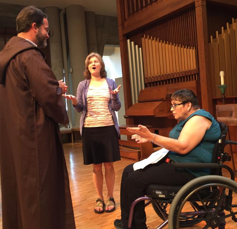 Lisa responds to Stephen during worship skit -