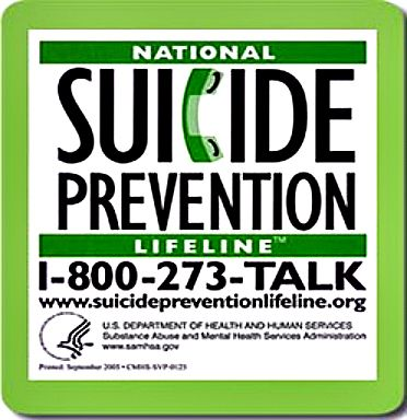 National Suicide Prevention Lifeline phone number and information in sticker format with green border
