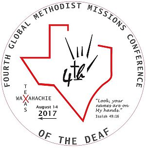 Logo for conference that includes an I Love You hand shape behind the word 4th_ an outline of the state of Texas_ and Isaiah 48_16_ Look_ your names are on my hands.