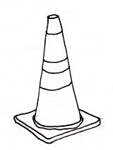 Line drawing of a traffic cone