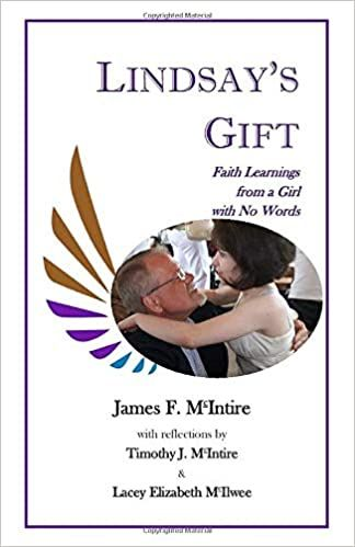 Book cover of Lindsay_s gift with stylized eagle feathers radiating from a photo of dressed up Jim looking up at Lindsay who is embracing him. Jim_ Timothy J_ McIntire and Lacey Elizabeth McIlwee are listed as authors