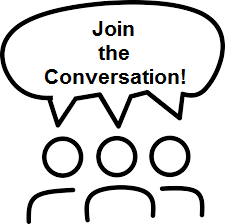 "Image of people talking with bubble that says ""Join the Conversation!"""