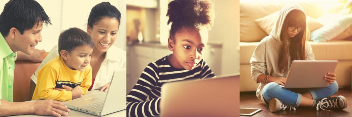 Photos of children of various ages using a laptop computer. One photo includes parents with their child.