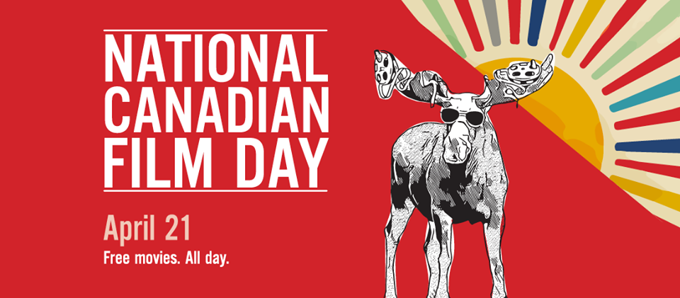 Graphic with National Canadian Film Day logo on red background with illustration of a moose wearing sunglasses with film reels in their antlers. In the background, a sun rises. Text: April 21. Free movies. All day.