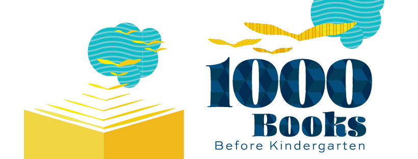 Illustration of an open book with pages becoming birds flying up to a cloud. Text: 1000 Books Before Kindergarten