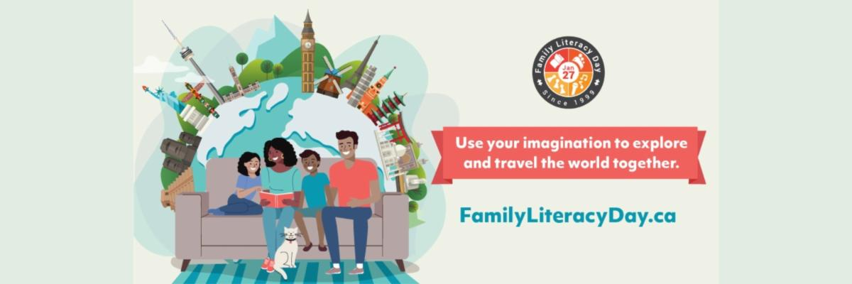 Illustration of a family with young children on a couch with their dog. Text: FamilyLiteracyDay.com Use your imagination to explore and travel the world together.