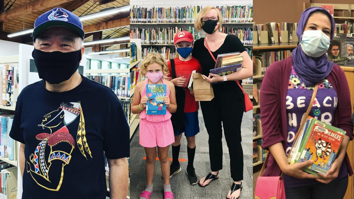 Photo collage showing Londoners of various ages wearing masks and holding books to borrowing inside Library locations.