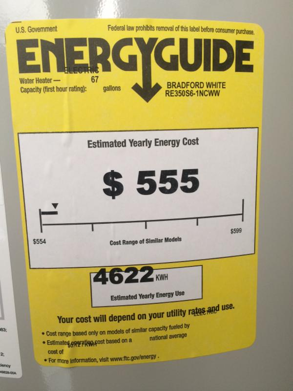 what does the energy guide sticker on your water heater say