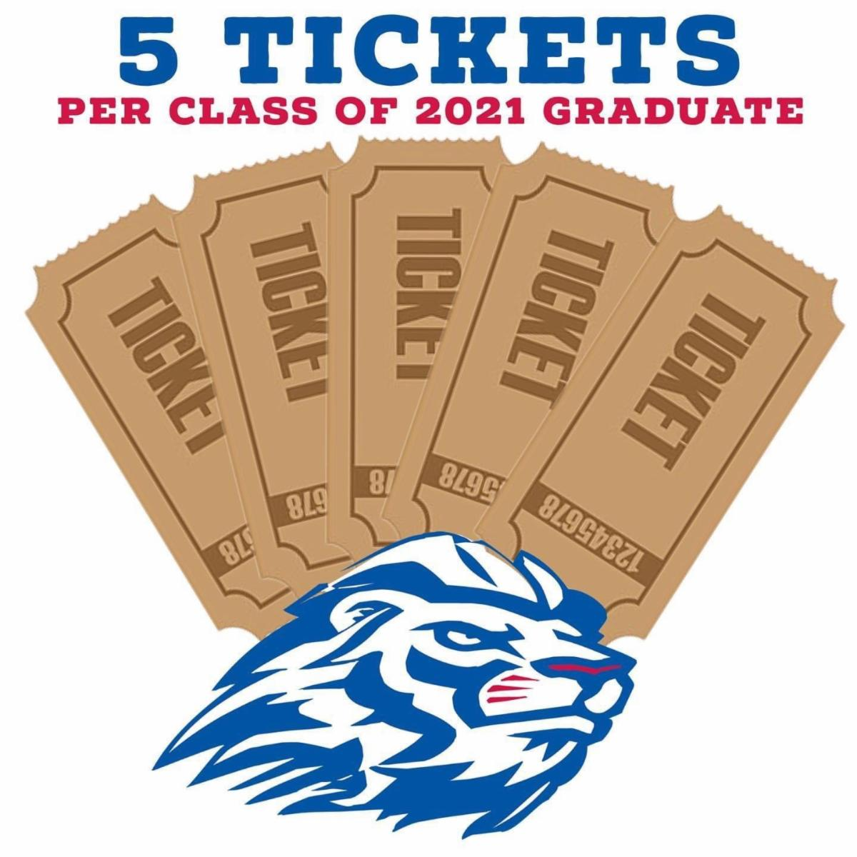 5 tickets per graduate with Lion Logo