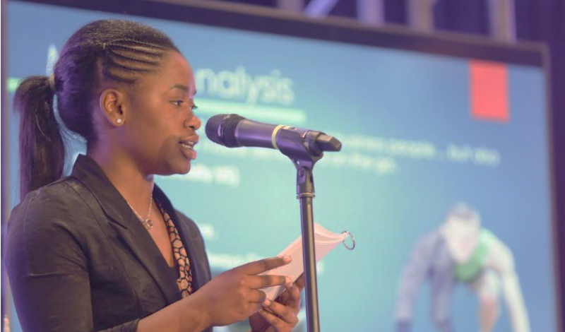 Young Entrepreneurs Academy student gives presentation