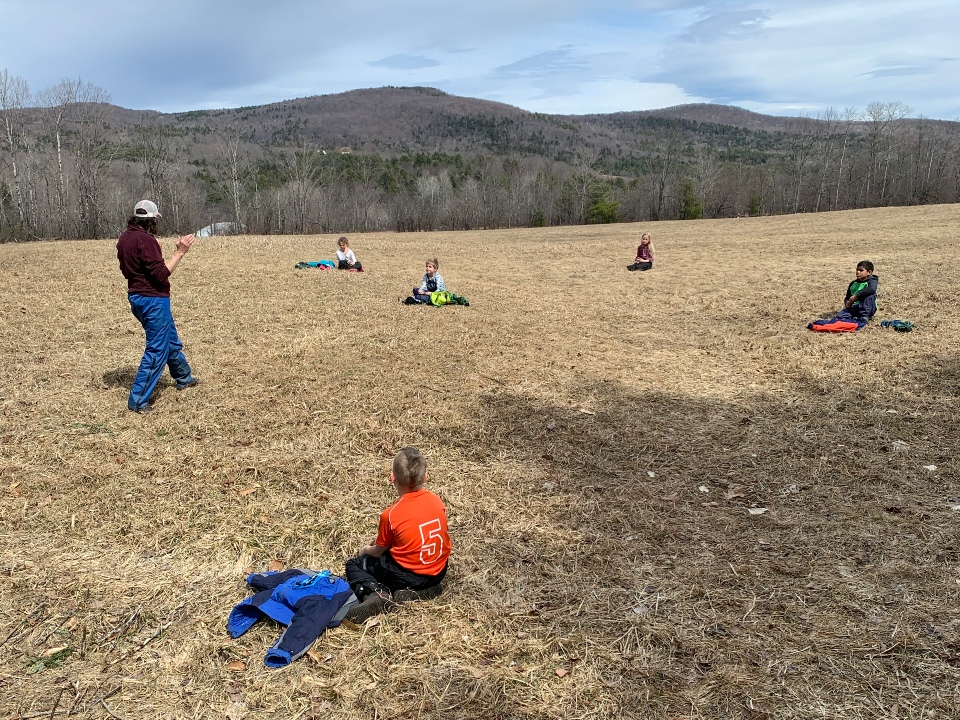 Second graders on the hilltop, enjoying outdoor ed