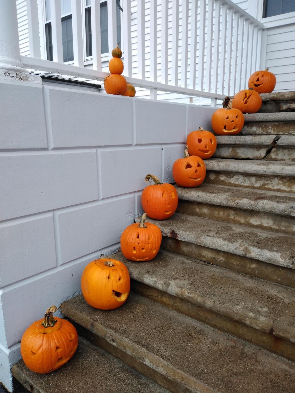 Third grade jack-o-lanterns on display.