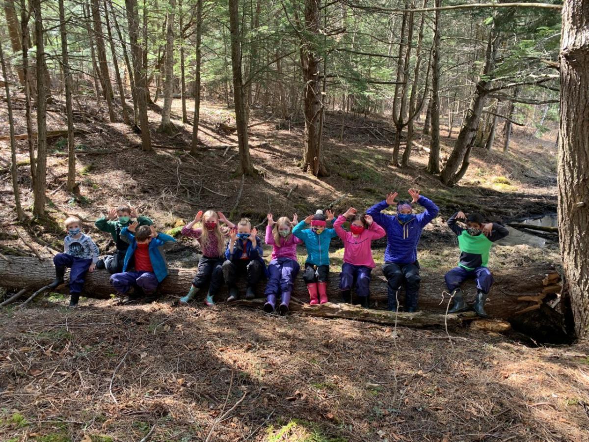 Second graders enjoying the outdoor classroom