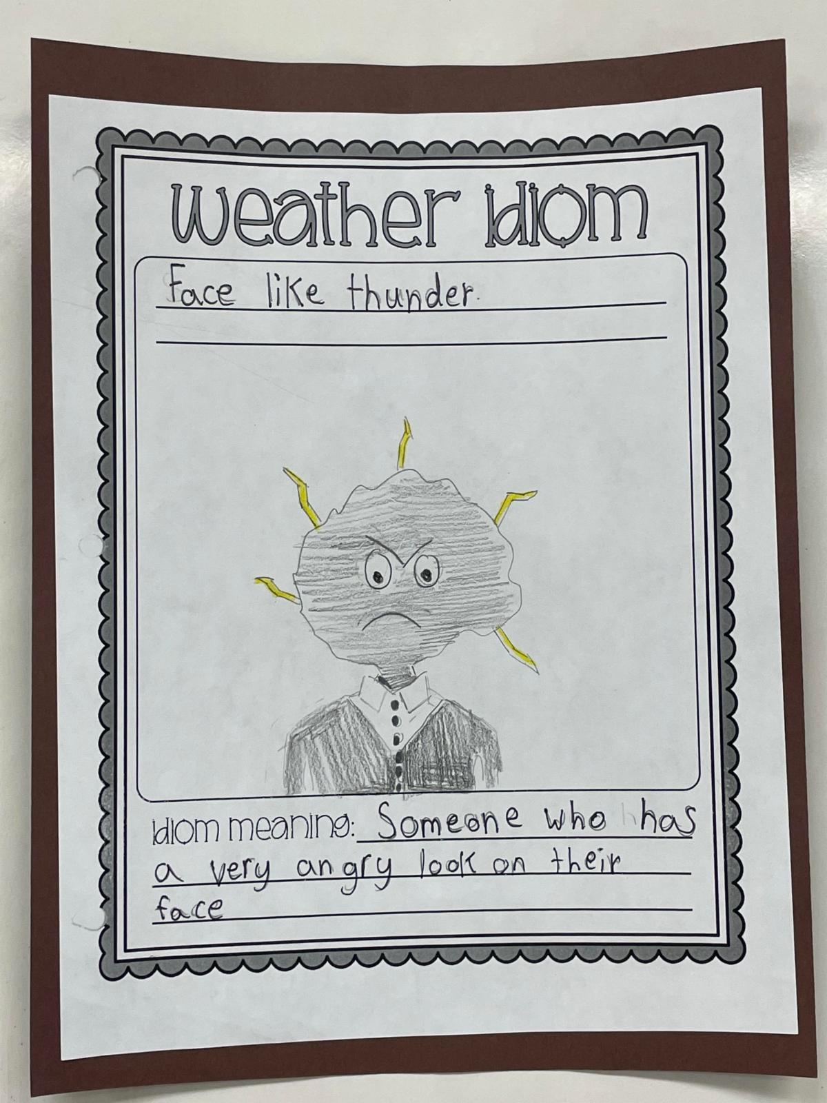 4th grade idiom Face Like Thunder
