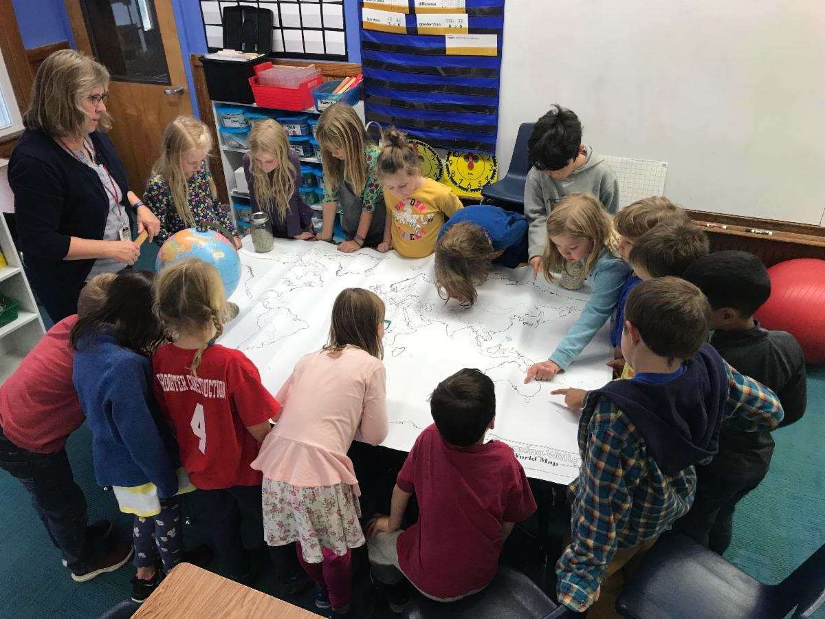 1st and 2nd graders learn about maps and mapping.