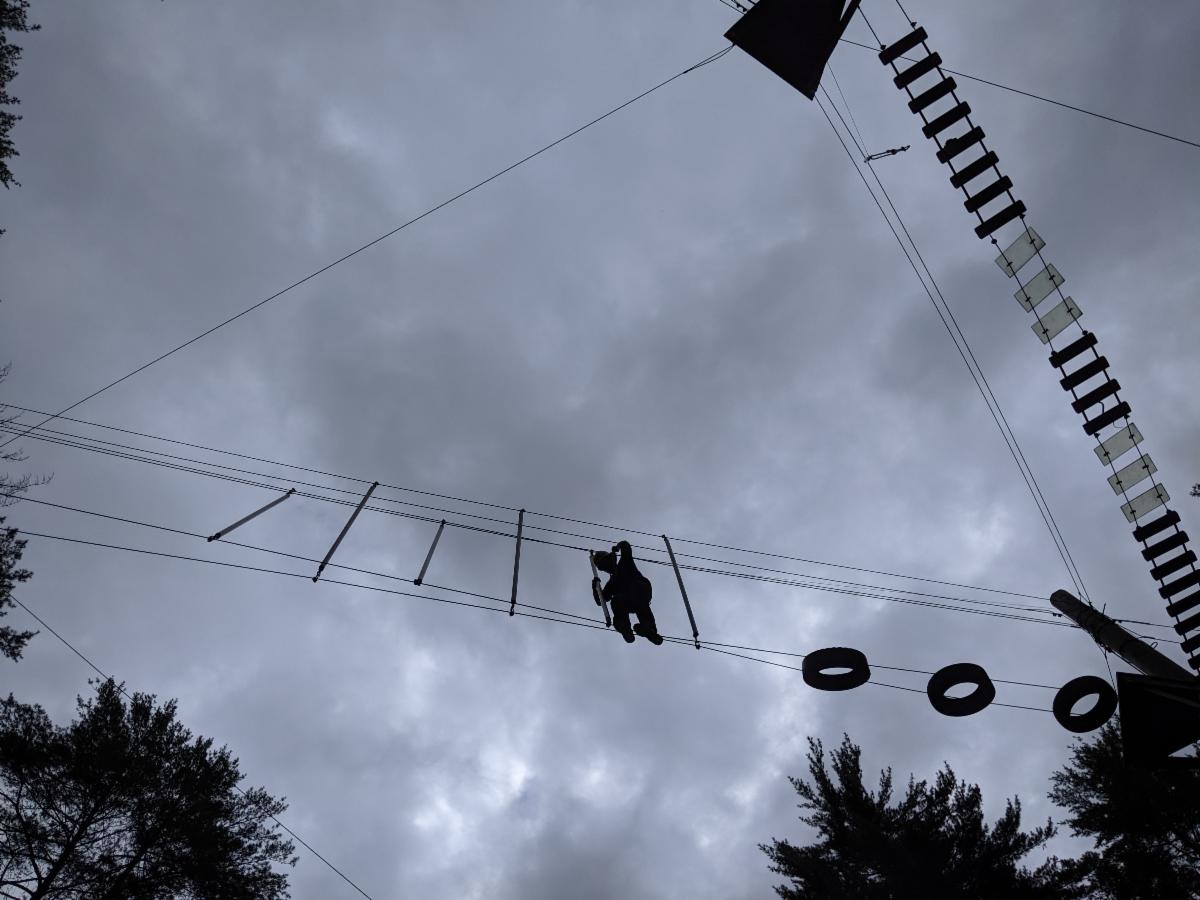 Student on the high ropes course