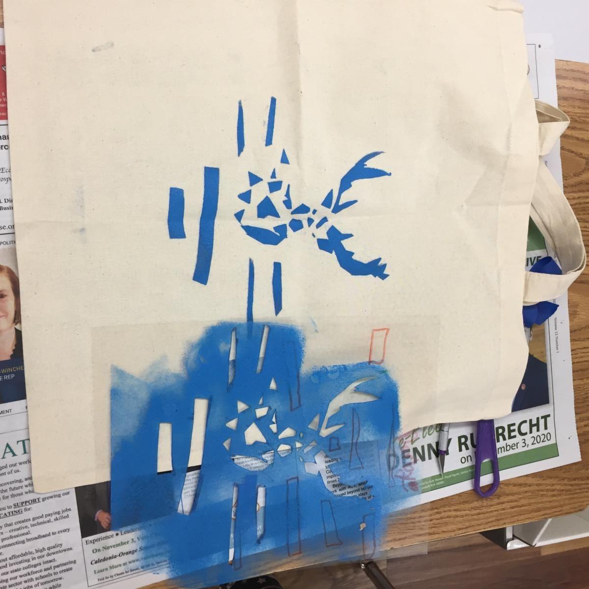 Student work with stencils.