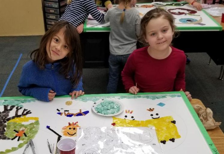 Second grade students working on the mosaic