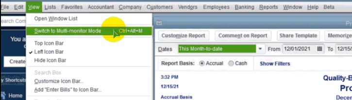 Image showing how to turn on Multi-monitor support in QuickBooks Desktop