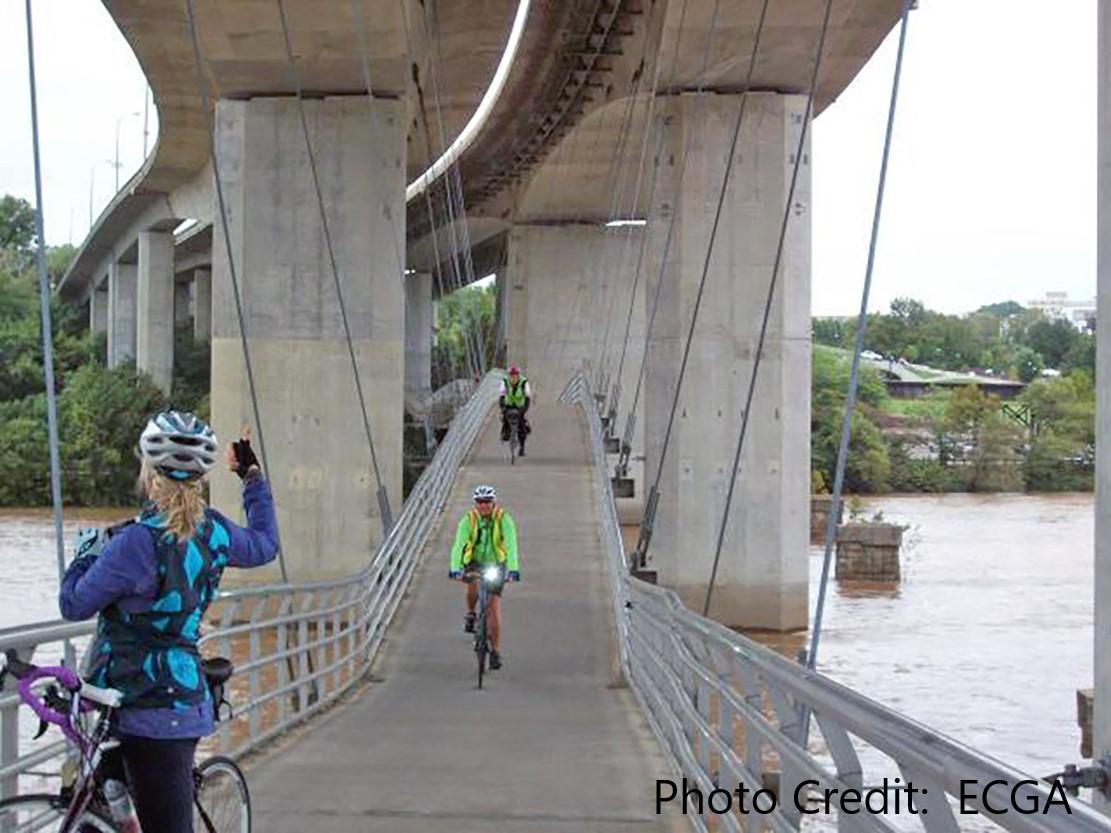 Women riding along a bridge.