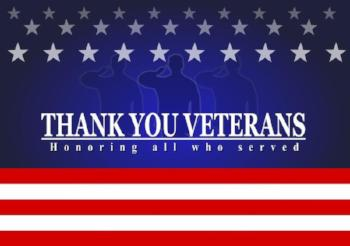Veterans Day with American flag_ Thank you veterans text
