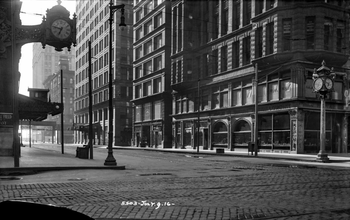 historical photo - Marshall Field clock
