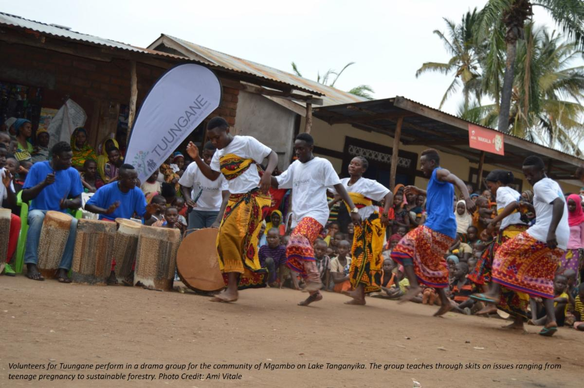 Volunteers for Tuungane perform in a drama group for the community of Mgambo on Lake Tanganyika Photo Credit Ami Vitale