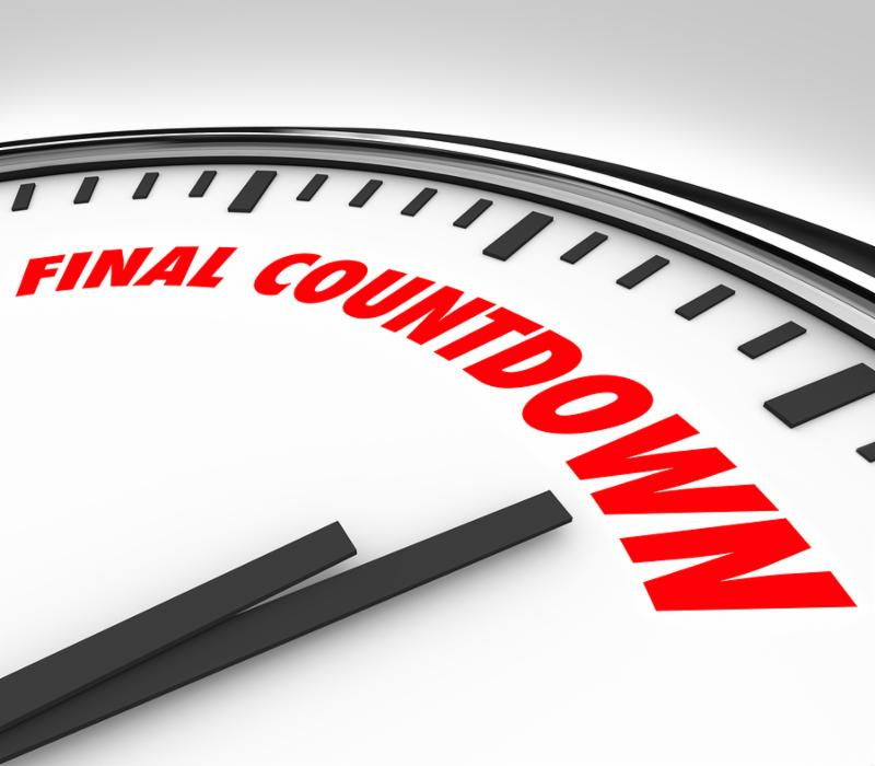 Final Countdown words on a clock to illustrate last hours_ minutes or seconds before a deadline