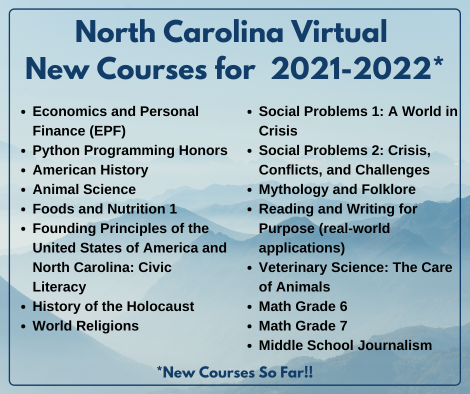 North Carolina Virtual  New Courses for  2021-2022 Economics and Personal Finance (EPF) Python Programming Honors American History Animal Science Foods and Nutrition 1 Founding Principles of the United States of America and North Carolina: Civic Literacy H