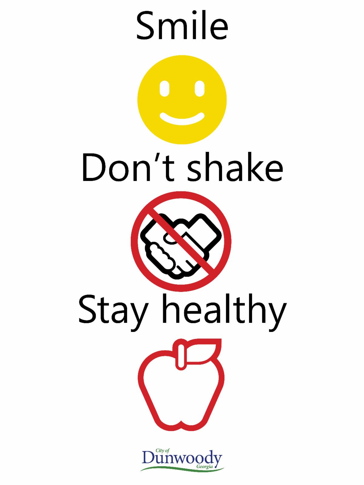 words say smile don't shake stay healthy