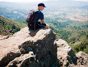 Hood Mountain hiker at Gunsight Rock