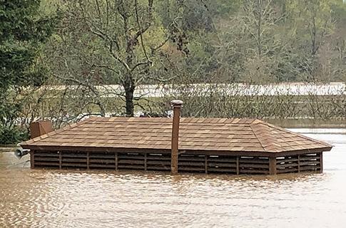 Otter Cafe submerged at Spring Lake