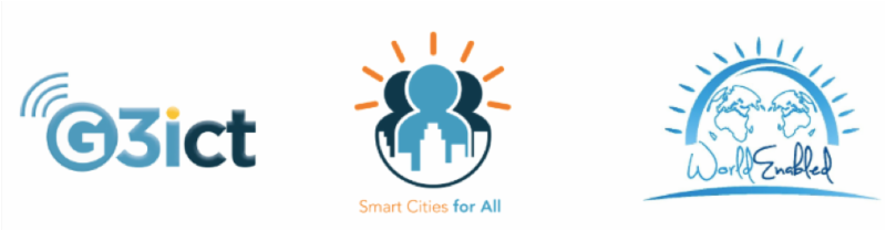 The Smart Cities logos of G3ict Smart Cities For All and World Enabled