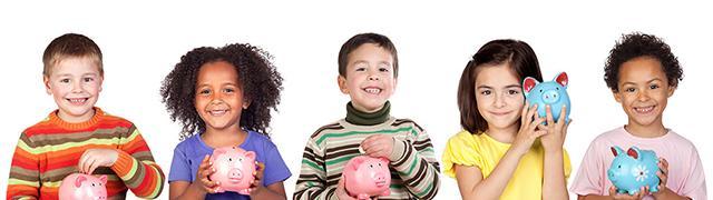Kids holding piggy banks.