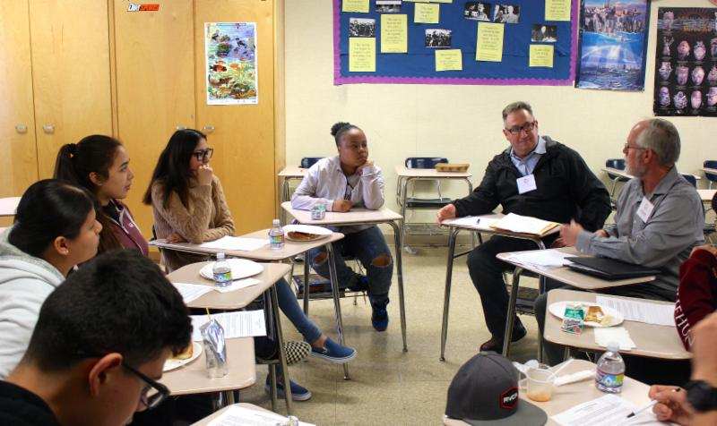 ITEP students from San Pedro High School meet with their mentors for their monthly industry coaching session.